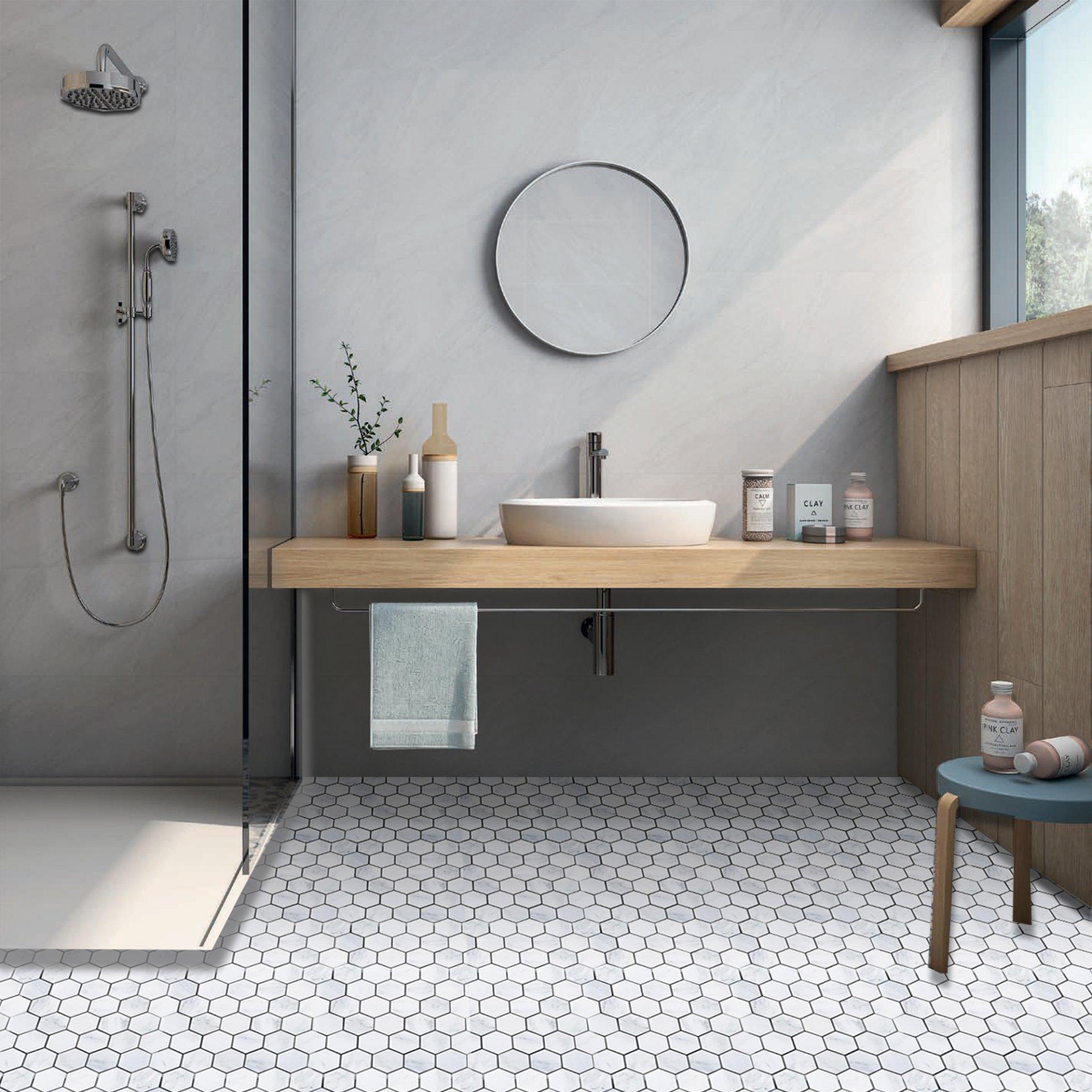 2X2 HEXAGON BIANCO CARRARA MARBLE POLISHED bathroom_1_2