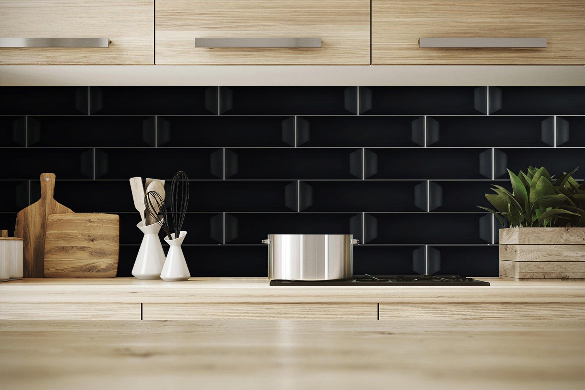3x12 Bellini Bisel Nero Ceramic Glossy Wall Tile