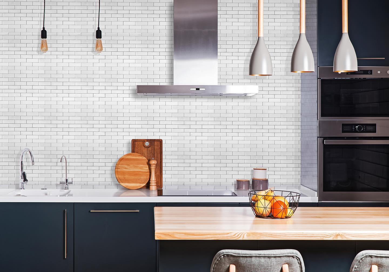 1x3 Bianco Brick Marble Polished Mosaic