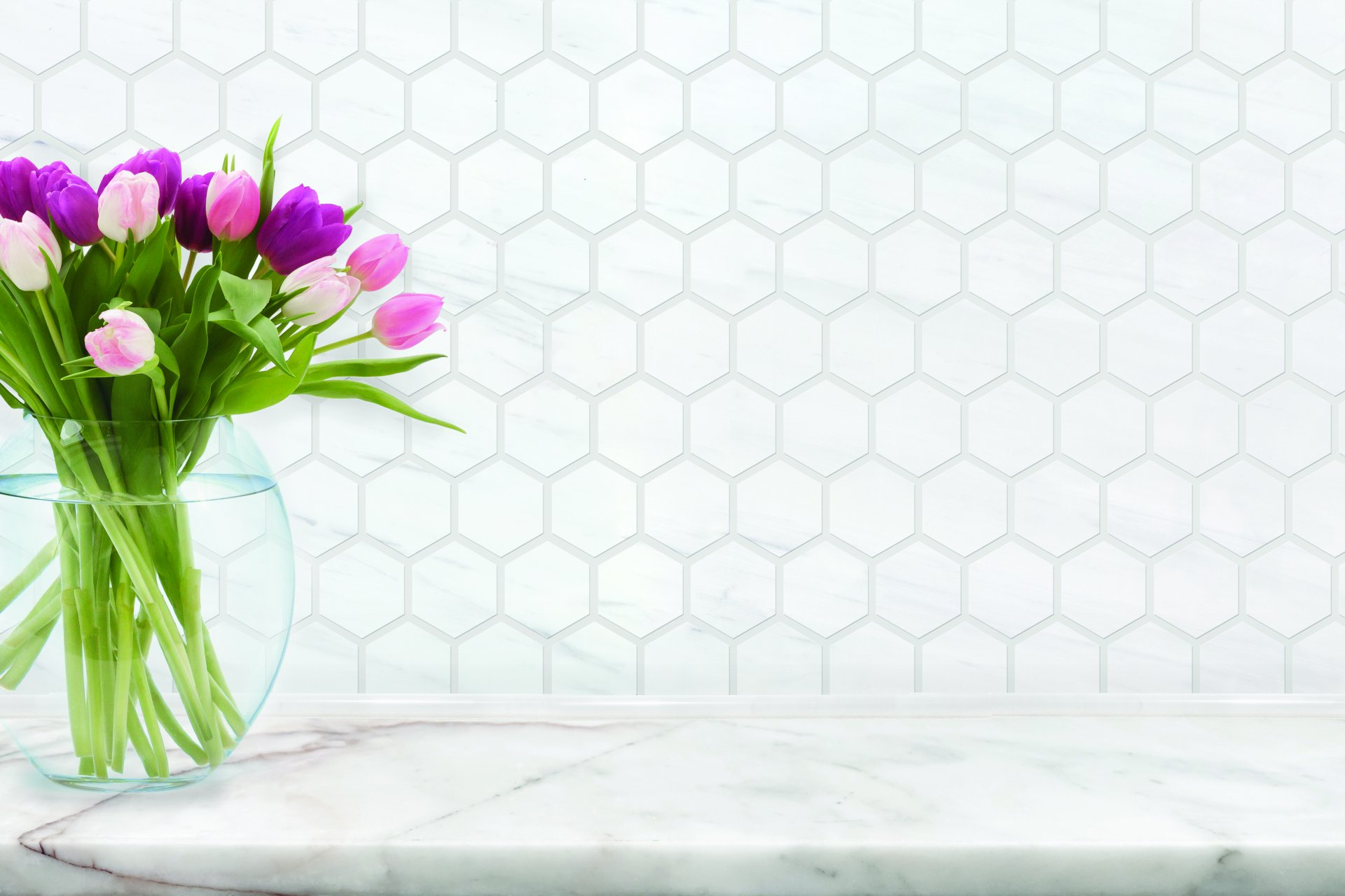 2x2 Hexagon Dolomite Select Marble Honed Mosaic