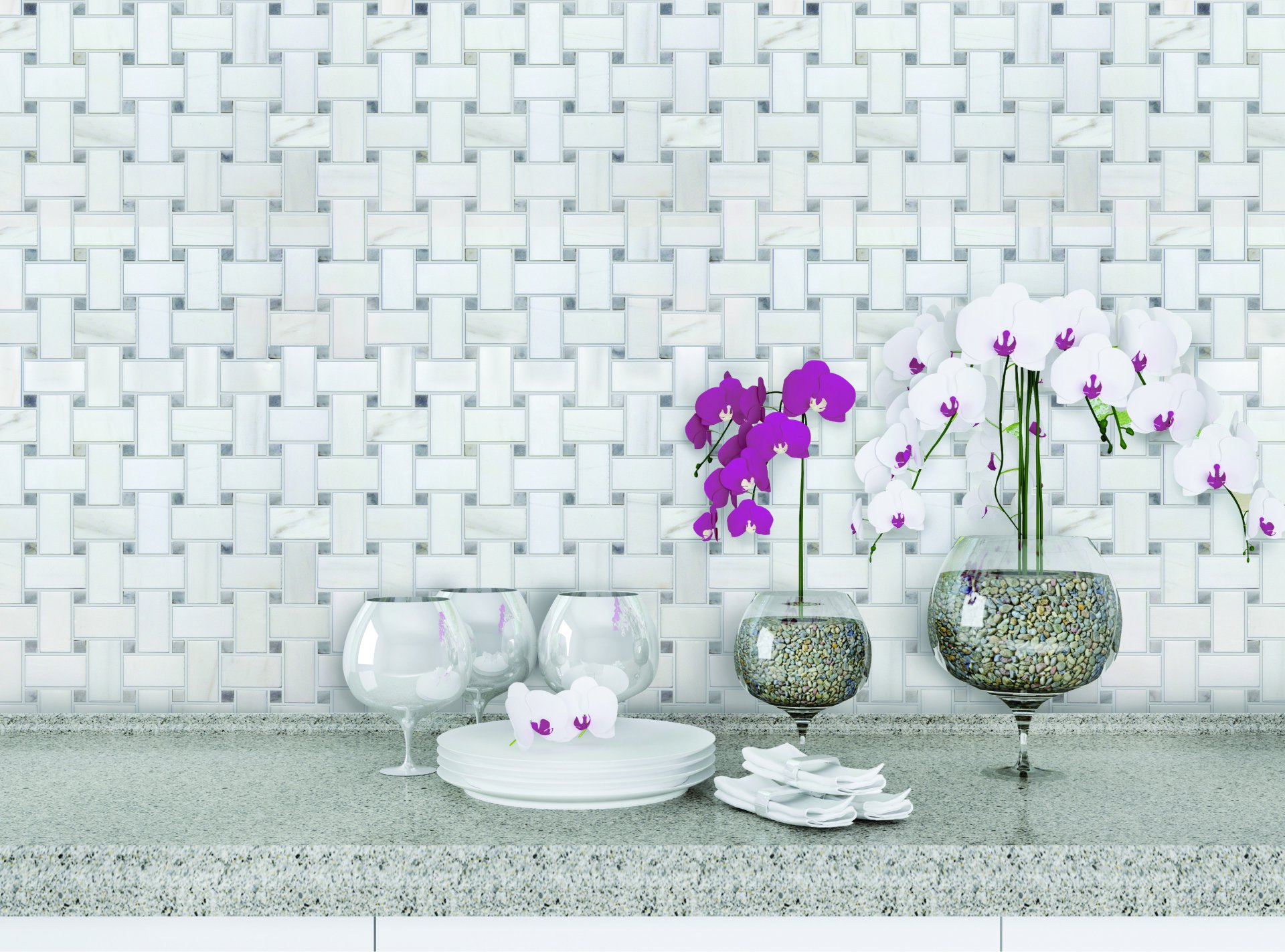 Tweed Dolomite Select with Grey Dots Marble Honed Mosaic